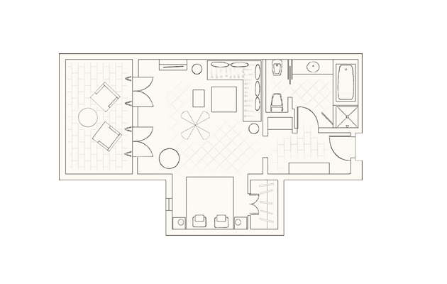 Junior suite sea view corner layout