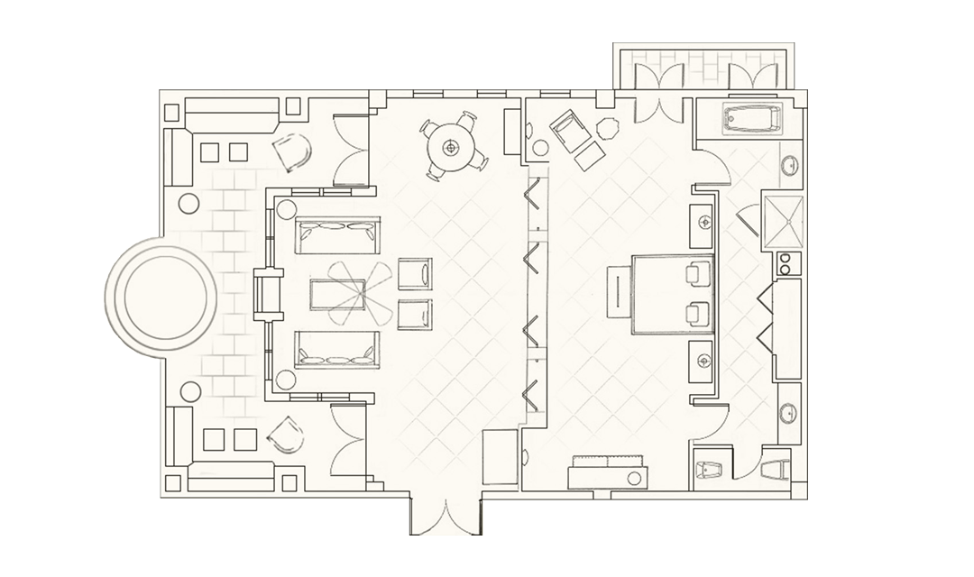 Adonis and Aphrodite Suite layout